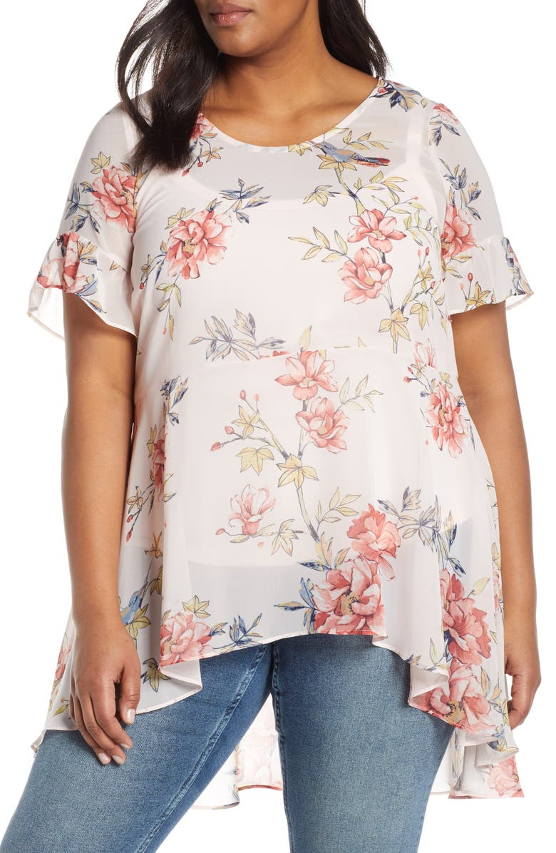 ESTELLE Songbird Floral High/Low Blouse, Main, color, 650