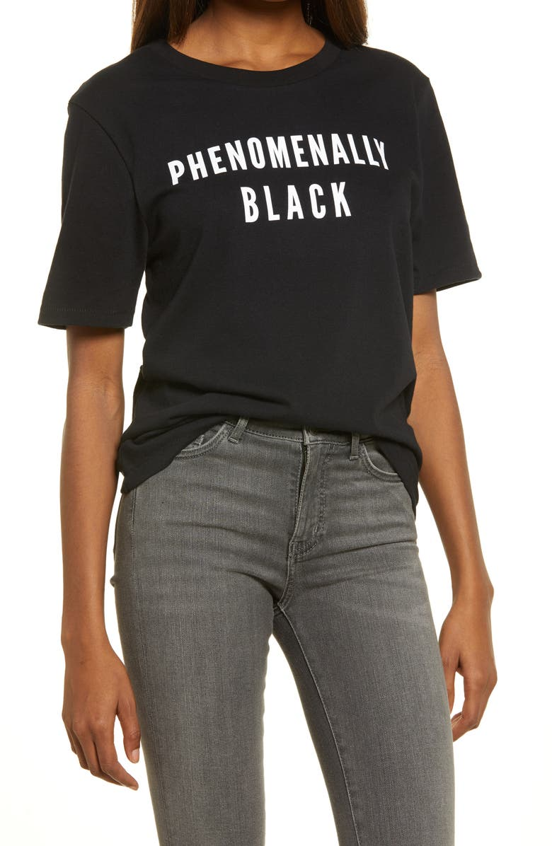 PHENOMENAL Phenomenally Black Graphic Tee, Main, color, 001