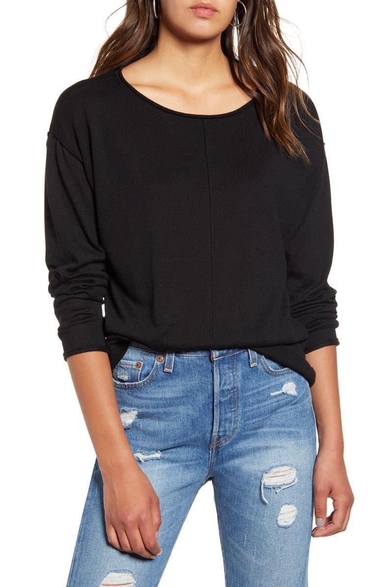 BP. High/Low Roll Edge Sweater, Main, color, 001