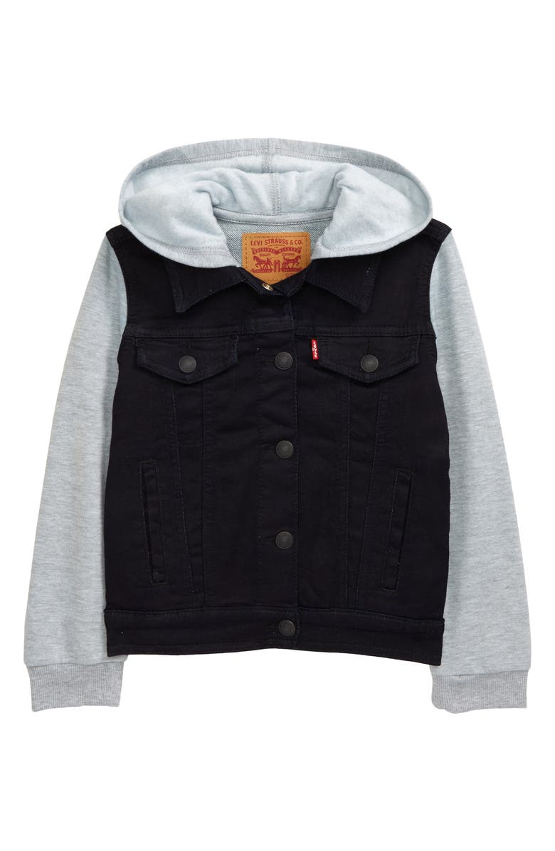 LEVI'S<SUP>®</SUP> Hooded Trucker Jacket, Main, color, 001