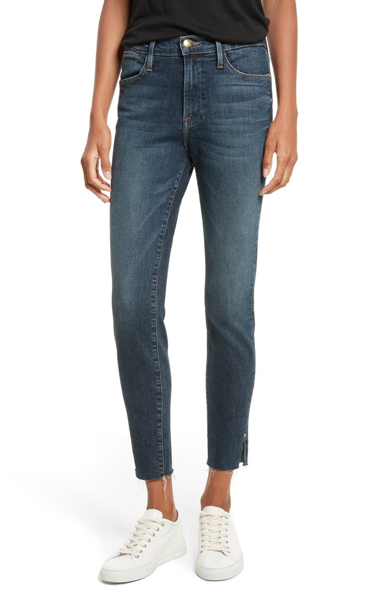 FRAME Le High Slit Ankle Skinny Jeans, Main, color, 402
