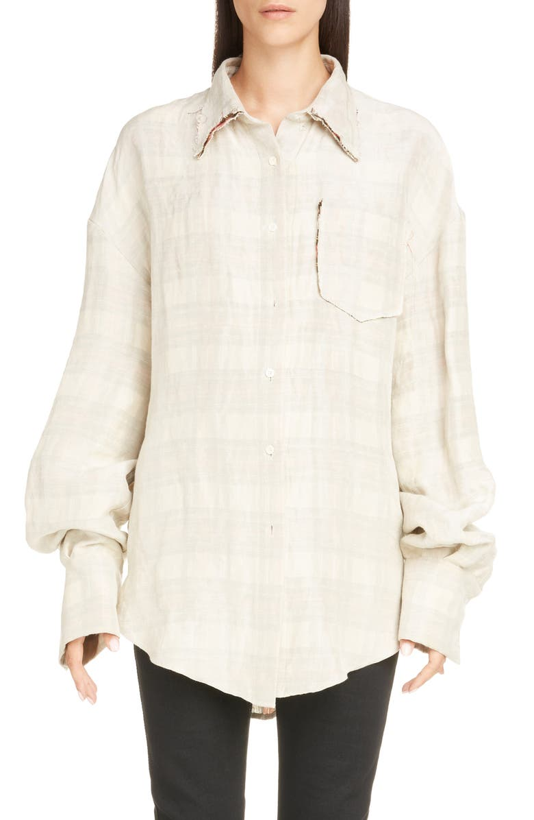 ACNE STUDIOS Sadira Check Linen Blend Shirt, Main, color, 250