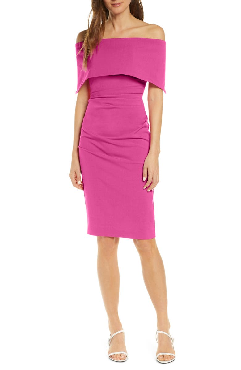 VINCE CAMUTO Popover Cocktail Dress, Main, color, HOT PINK
