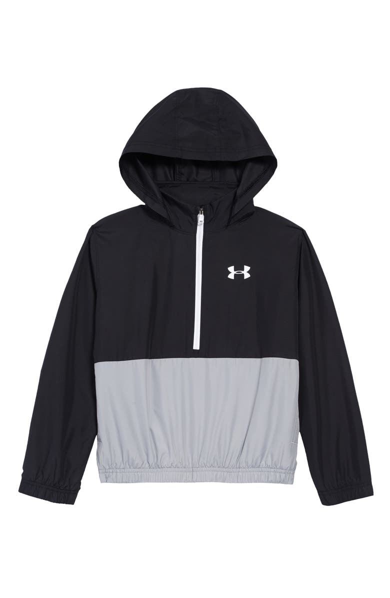 UNDER ARMOUR Mesh Lined Hooded Pullover, Main, color, BLACK / / WHITE