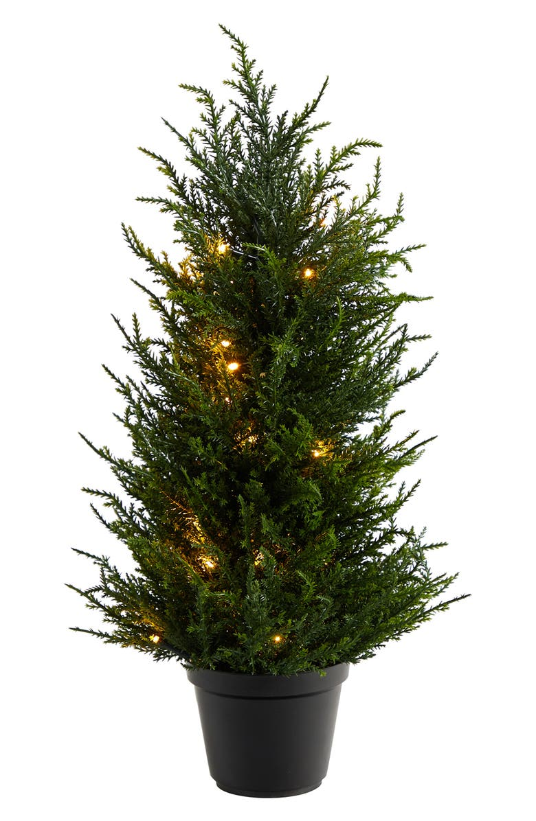 """NEARLY NATURAL 18"""" Cedar Artificial Tree with LED Lights UV Resistant, Main, color, GREEN"""