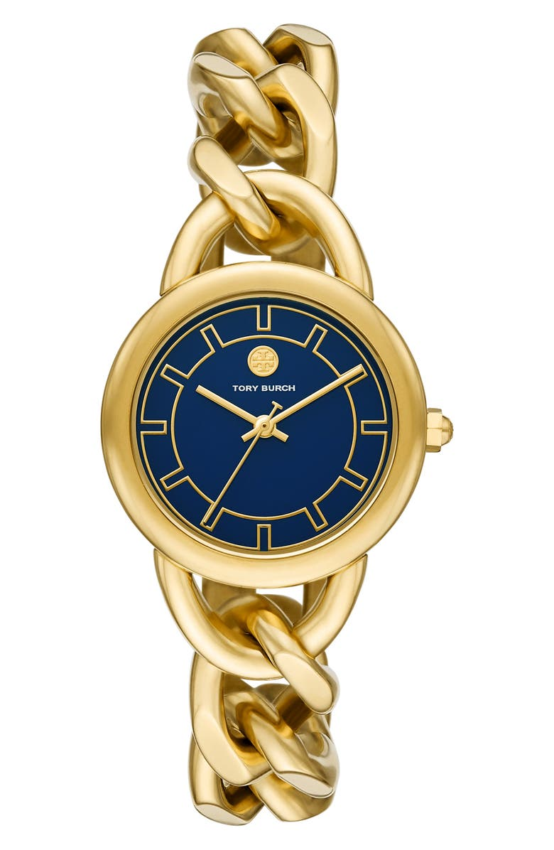 TORY BURCH Ravello Curb Chain Bracelet Watch, 32mm x 40mm, Main, color, GOLD