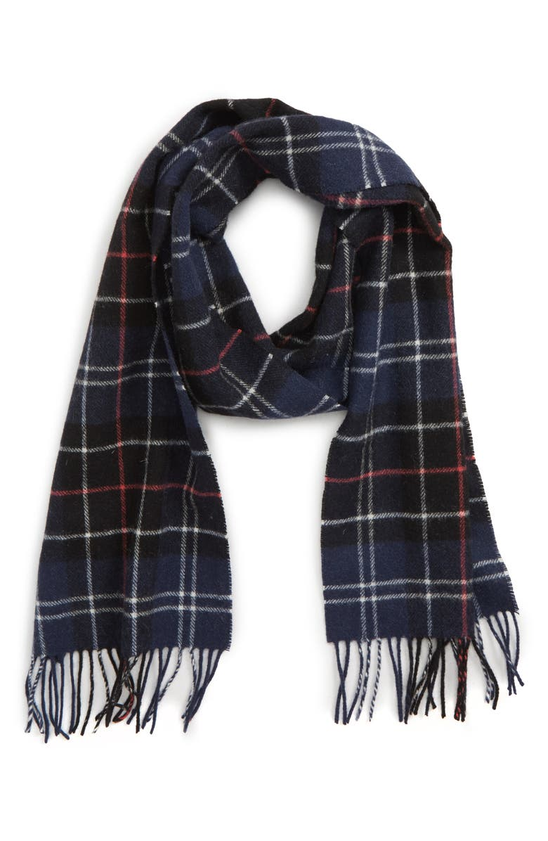BARBOUR Tartan Wool Scarf, Main, color, NAVY/ RED
