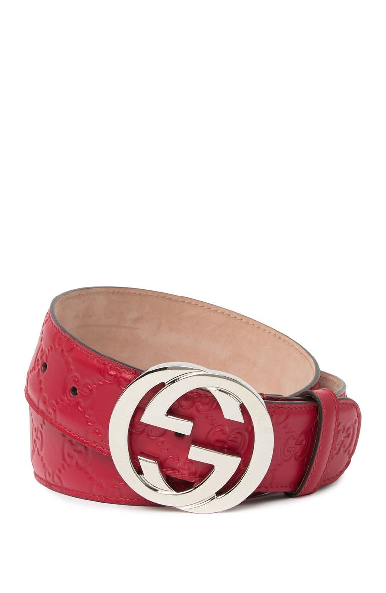 GUCCI Interlocking G Buckle Logo Embossed Leather Belt, Main, color, 600