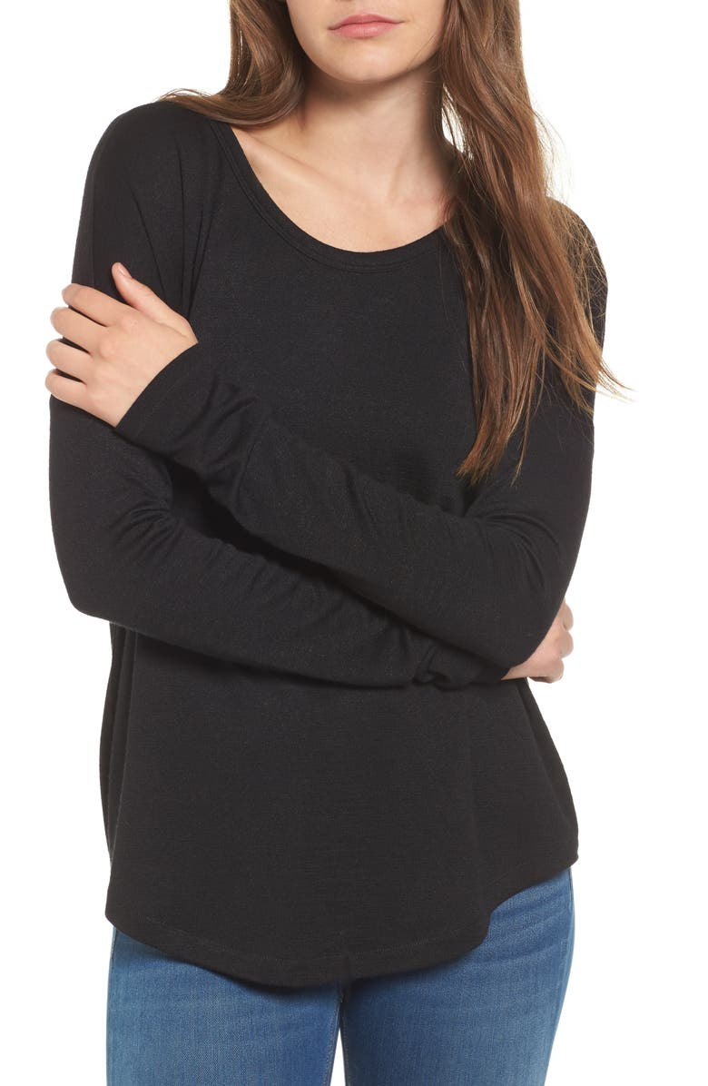RAG & BONE The Knit Long Sleeve Tee, Main, color, BLACK
