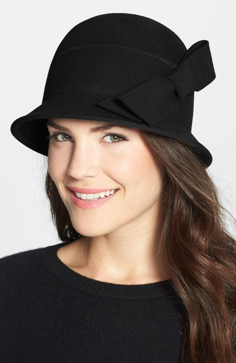NORDSTROM Bow Wool Cloche, Main, color, 001