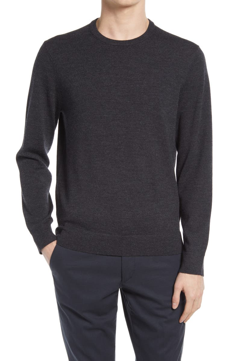 CLUB MONACO Wool Crewneck Sweater, Main, color, CHARCOAL