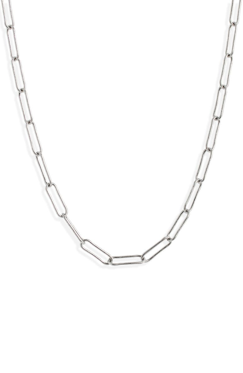 MADEWELL Paperclip Chain Necklace, Main, color, LIGHT SILVER OX