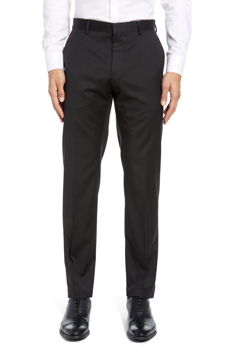 BOSS Gibson CYL Flat Front Solid Slim Fit Wool Dress Pants, Main, color, BLACK