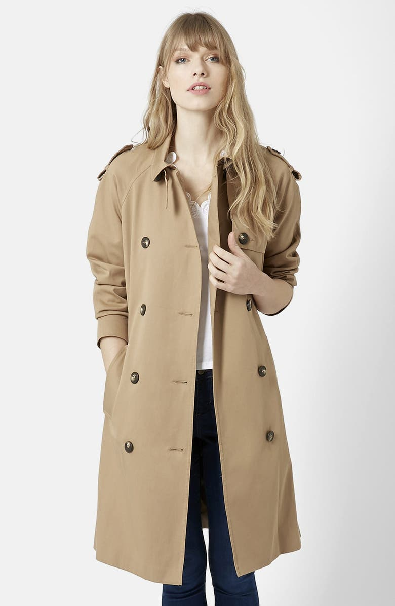 TOPSHOP Double Breasted Cotton Trench, Main, color, 252