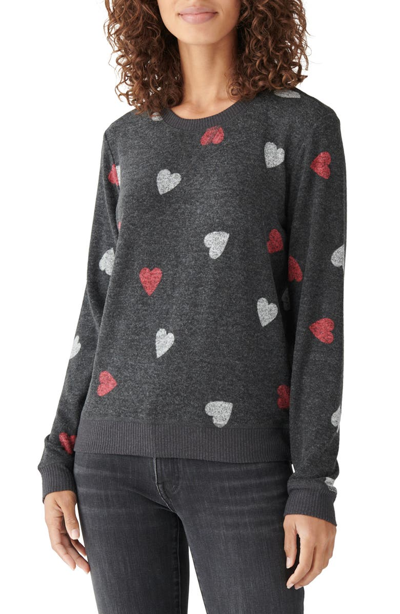 LUCKY BRAND Cloud Jersey Sweatshirt, Main, color, CHARCOAL W/ RED WHITE HEARTS