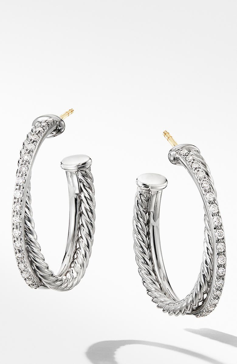 DAVID YURMAN Crossover Medium Hoop Earrings with Diamonds, Main, color, SILVER/ DIAMOND