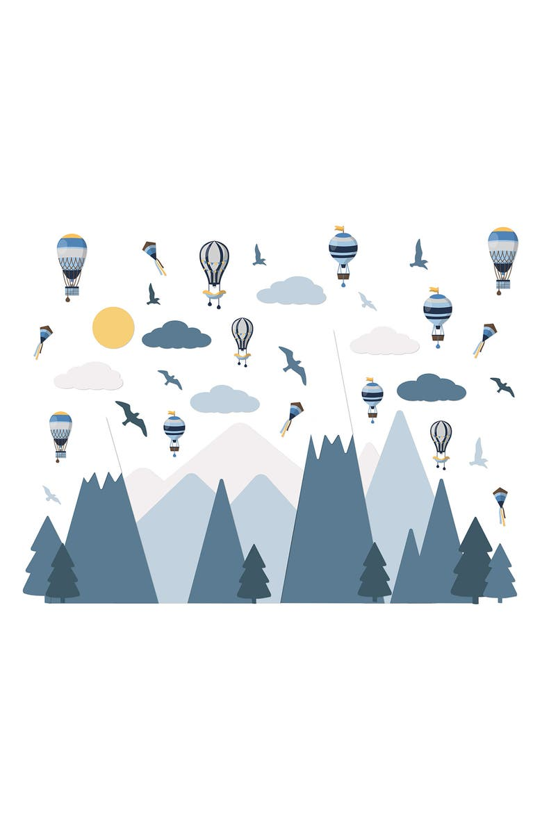 WALPLUS Hot Air Balloons Over Blue Mountains Wall Decal Set, Main, color, BLUE
