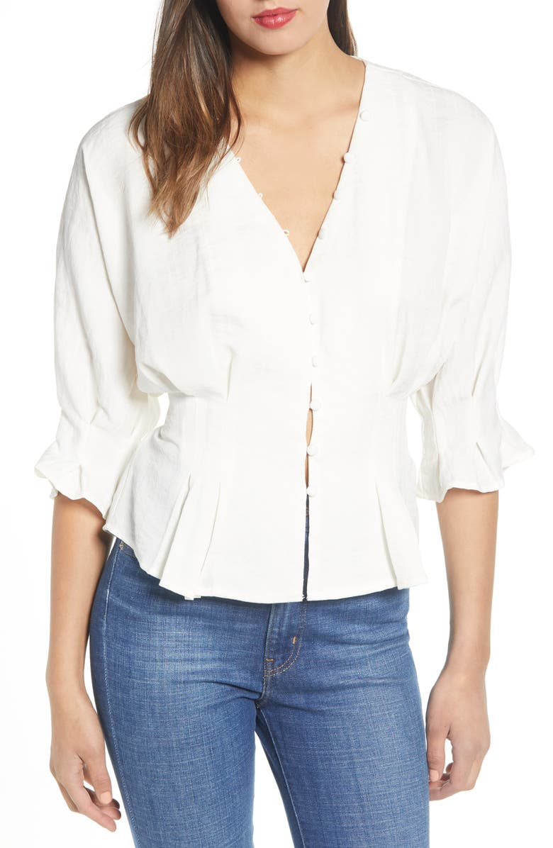 MOON RIVER Cinched Waist Top, Main, color, White