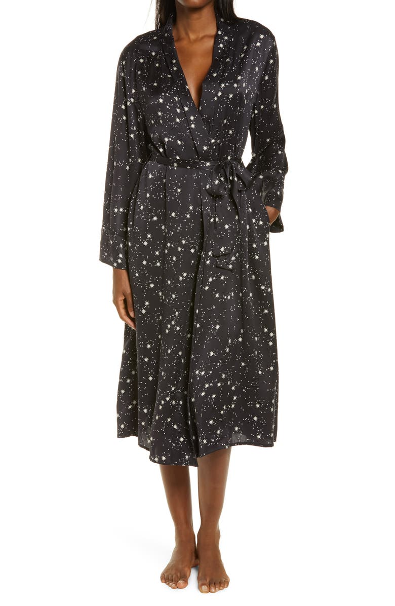 PAPINELLE Star Print Silk Robe, Main, color, 001