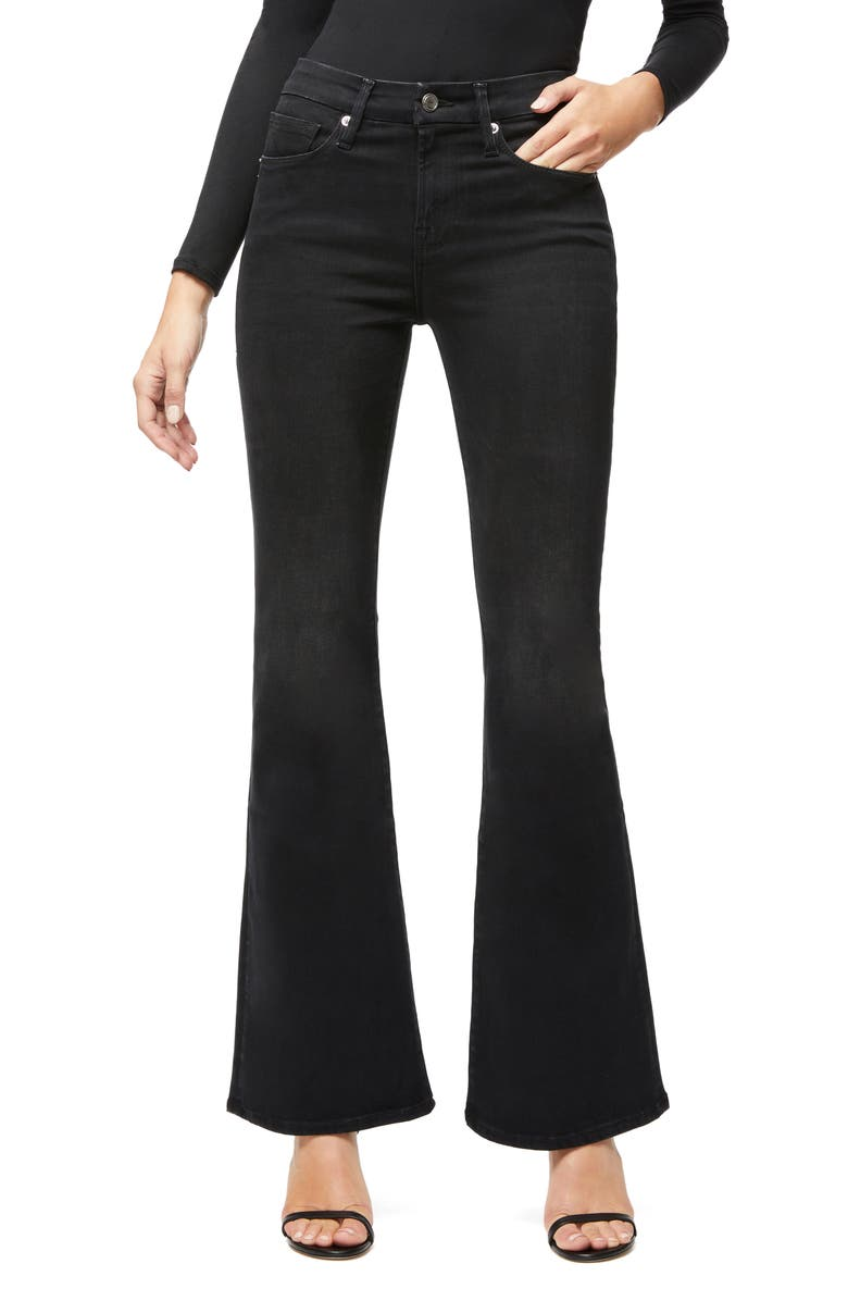 GOOD AMERICAN Good Flare Jeans, Main, color, BLACK068