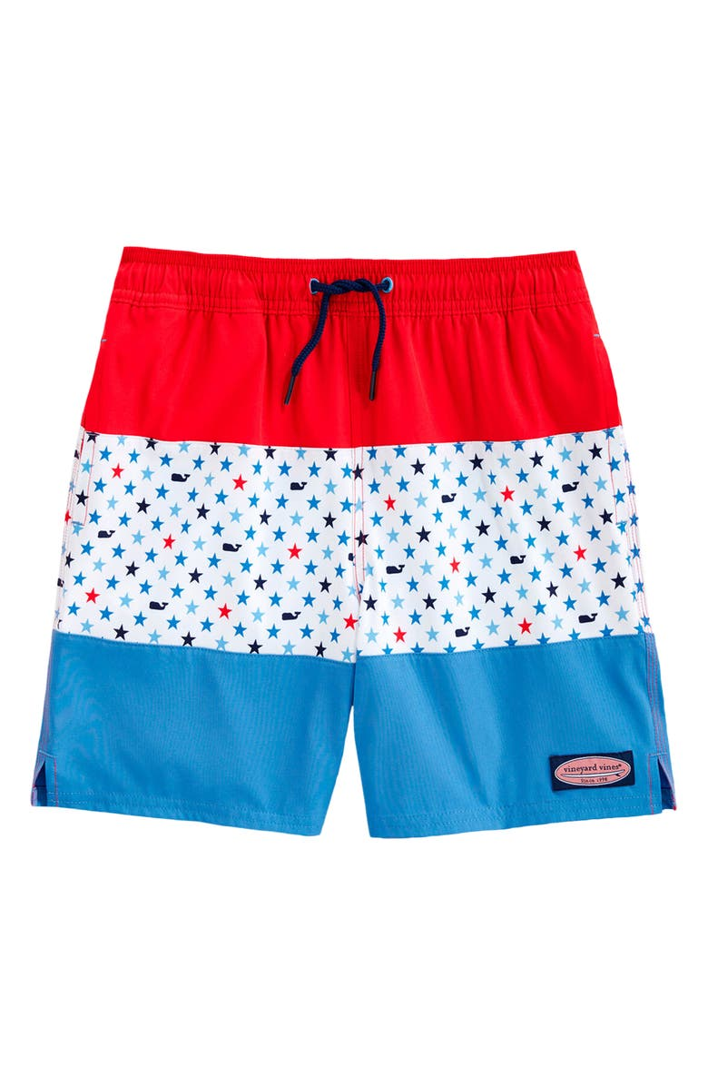 VINEYARD VINES Pieced Chappy Swim Trunks, Main, color, LIGHTHOUSE RED