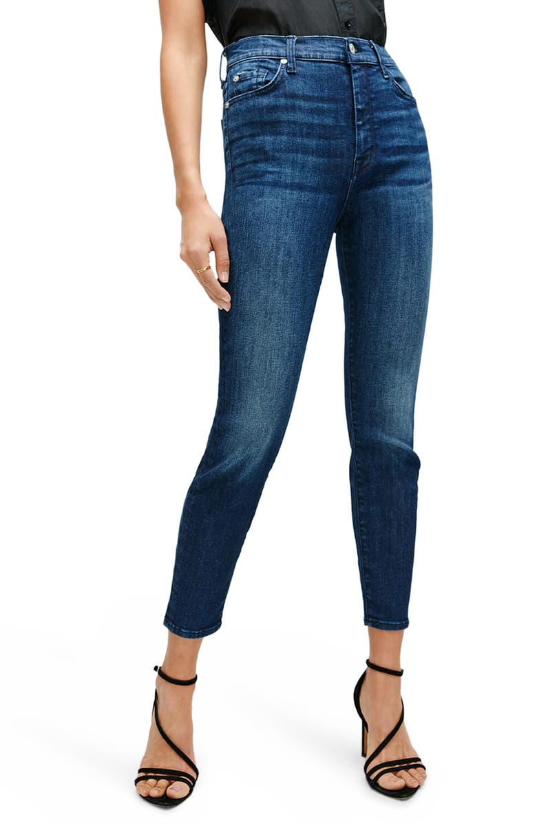 7 FOR ALL MANKIND<SUP>®</SUP> High Waist Ankle Skinny Jeans, Main, color, DRK INDIGO
