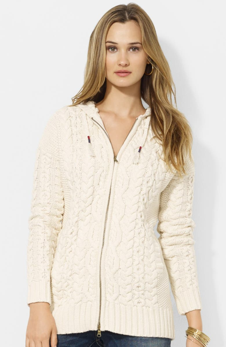 LAUREN RALPH LAUREN Hooded Cable Knit Cardigan, Main, color, 900