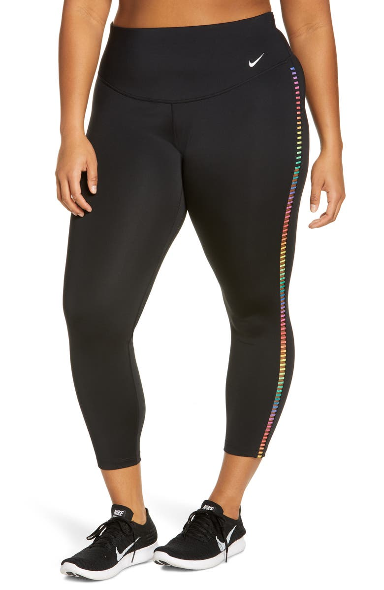 NIKE One Rainbow Ladder Pocket Tights, Main, color, BLACK/ WHITE
