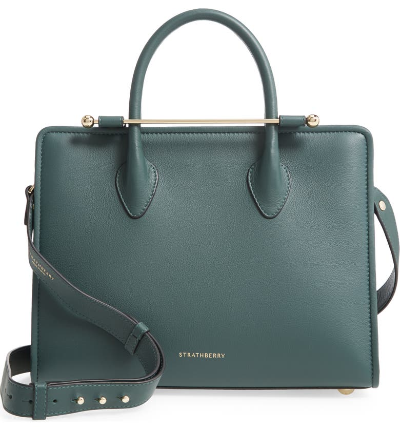 STRATHBERRY Midi Leather Tote, Main, color, BOTTLE GREEN