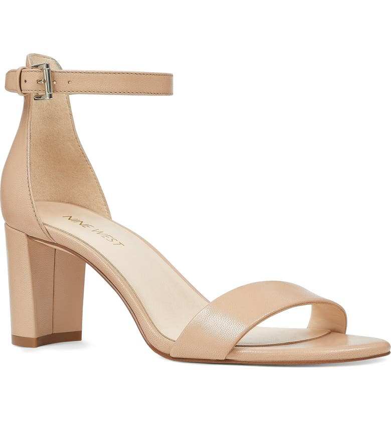 NINE WEST Pruce Ankle Strap Sandal, Main, color, LIGHT NATURAL LEATHER
