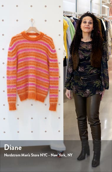Stripe Oversize Mohair Blend Sweater, sales video thumbnail