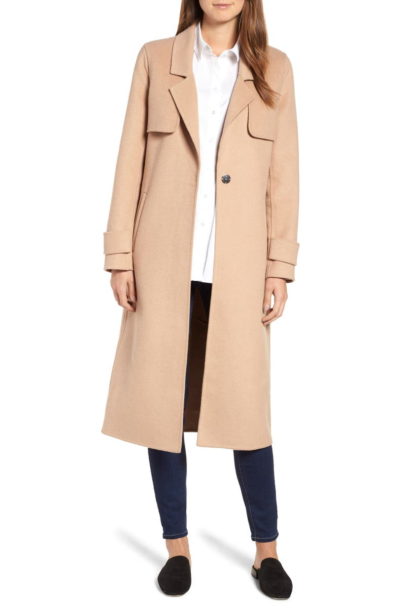 KENNETH COLE NEW YORK Double Face Wool Blend Long Coat, Main, color, CAMEL