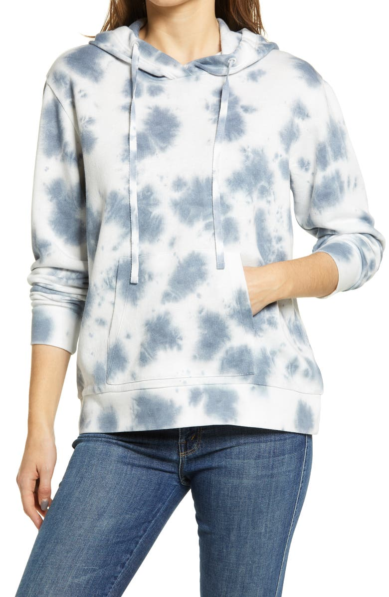 CASLON<SUP>®</SUP> French Terry Pullover Hoodie, Main, color, BLUE SUBTLE TIE DYE