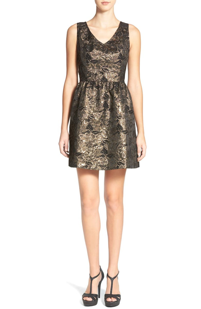 FRENCHI Metallic Jacquard Fit & Flare Dress, Main, color, 001