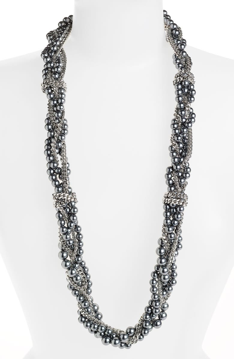 GIVENCHY Glass Pearl Multistrand Necklace, Main, color, GREY PEARL/ HEMATITE