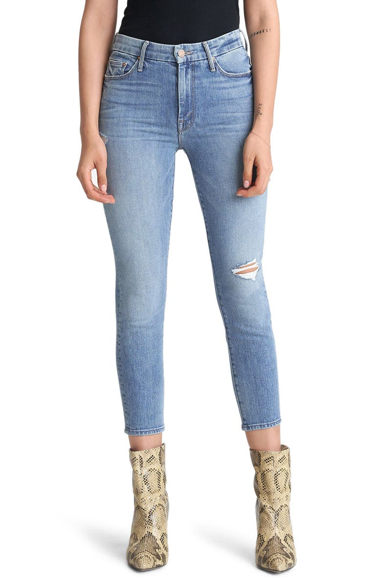 MOTHER The Looker Ripped High Waist Crop Skinny Jeans, Main, color, 420