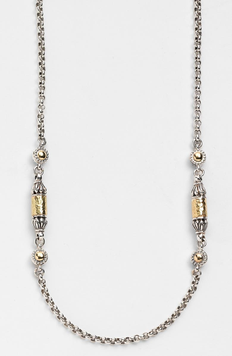 KONSTANTINO 'Classics' Two-Tone Hammered Station Necklace, Main, color, SILVER/ GOLD