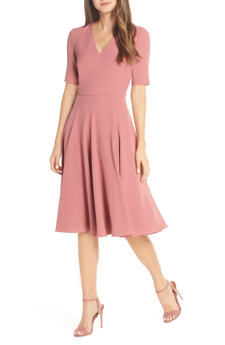 GAL MEETS GLAM COLLECTION Edith City Crepe Fit & Flare Midi Dress, Main, color, 650