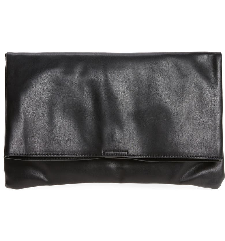 SOLE SOCIETY Melrose Faux Leather Clutch, Main, color, 001