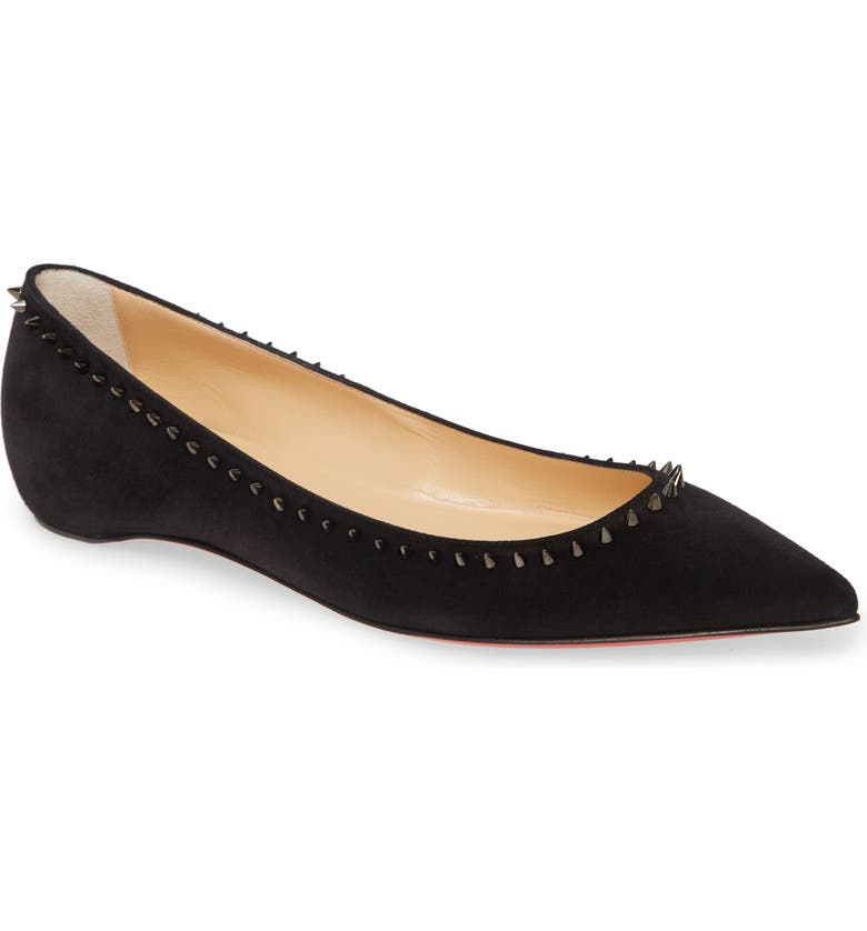 CHRISTIAN LOUBOUTIN Anjalina Spike Flat, Main, color, BLACK