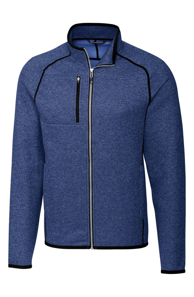 CUTTER & BUCK Mainsail Zip Jacket, Main, color, TOUR BLUE HEATHER