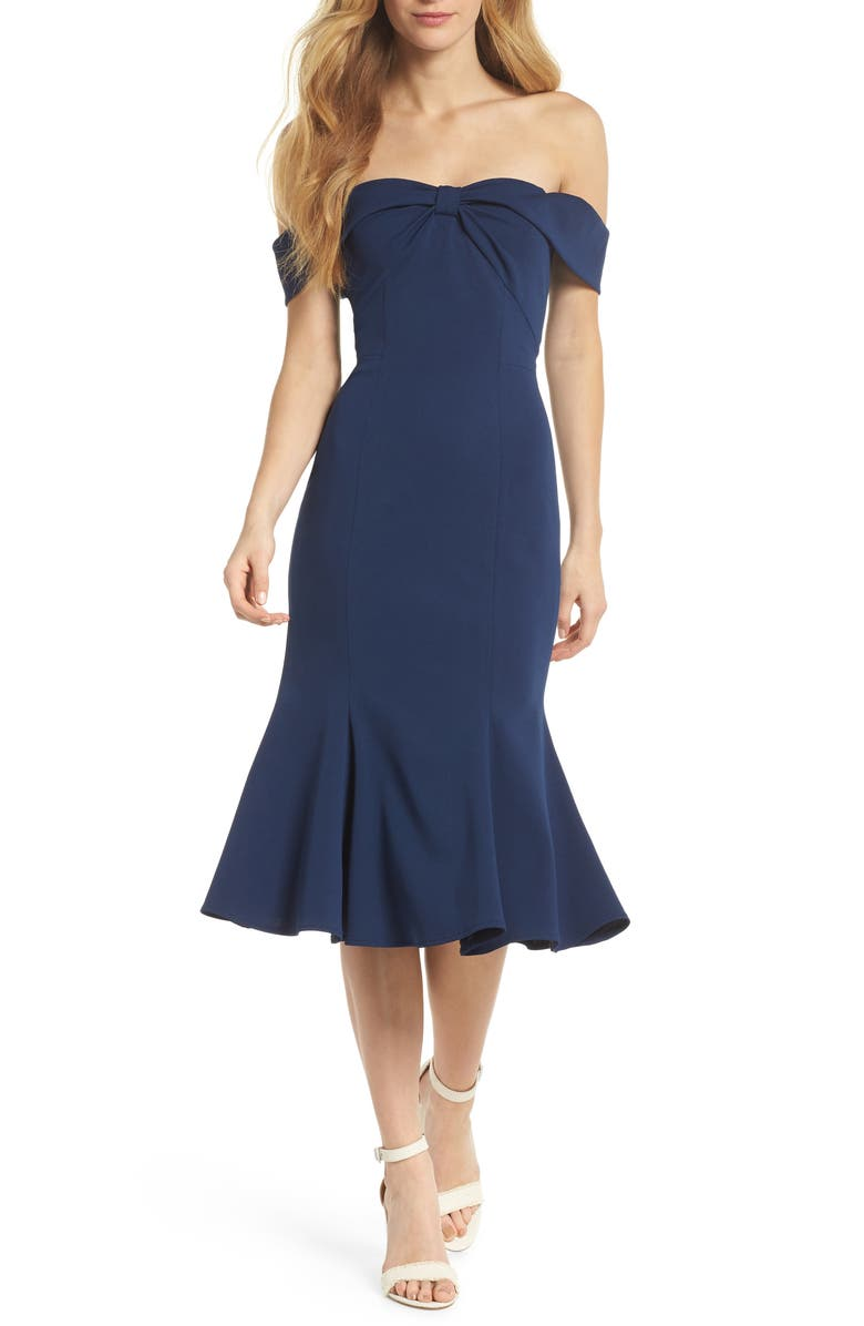 GAL MEETS GLAM COLLECTION Tyler Off the Shoulder Scuba Crepe Dress, Main, color, NAVY