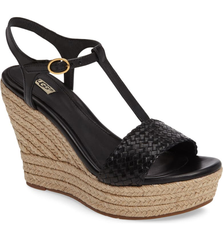 UGG<SUP>®</SUP> Fitchie II Espadrille Wedge Sandal, Main, color, 001