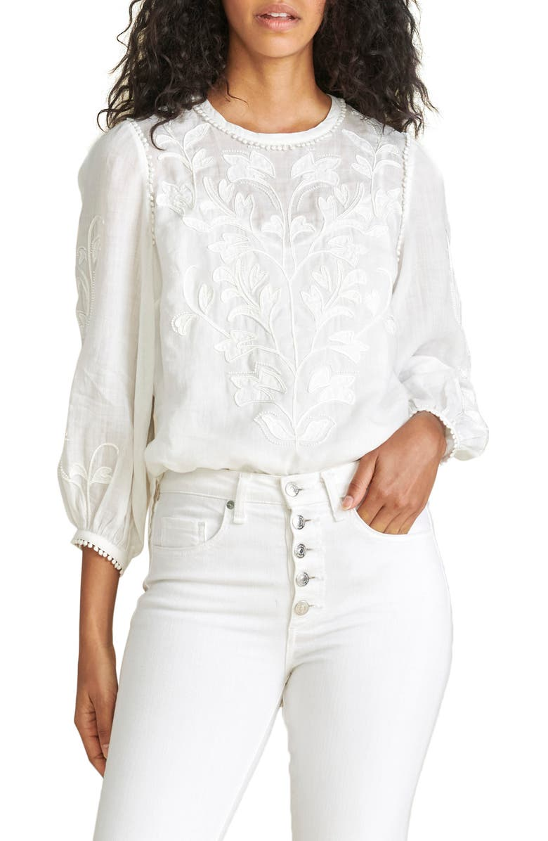 VERONICA BEARD Mayana Embroidered Blouse, Main, color, WHITE