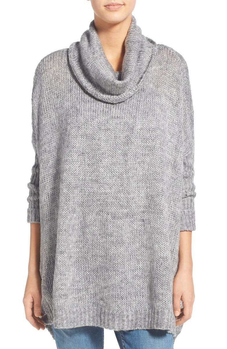 DREAMERS BY DEBUT Cowl Neck High/Low Sweater, Main, color, Grey