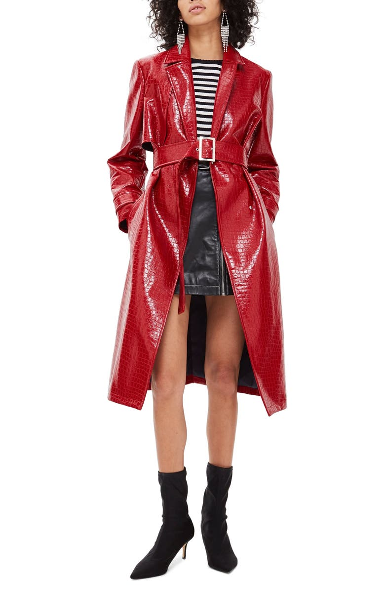 TOPSHOP Croc-Embossed Trench Coat, Main, color, 600