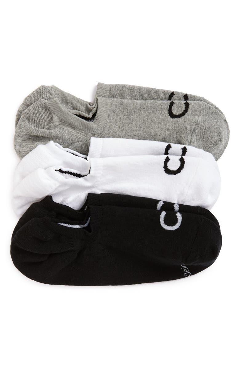 CALVIN KLEIN 3-Pack No-Show Socks, Main, color, GREY/ WHITE/ BLACK