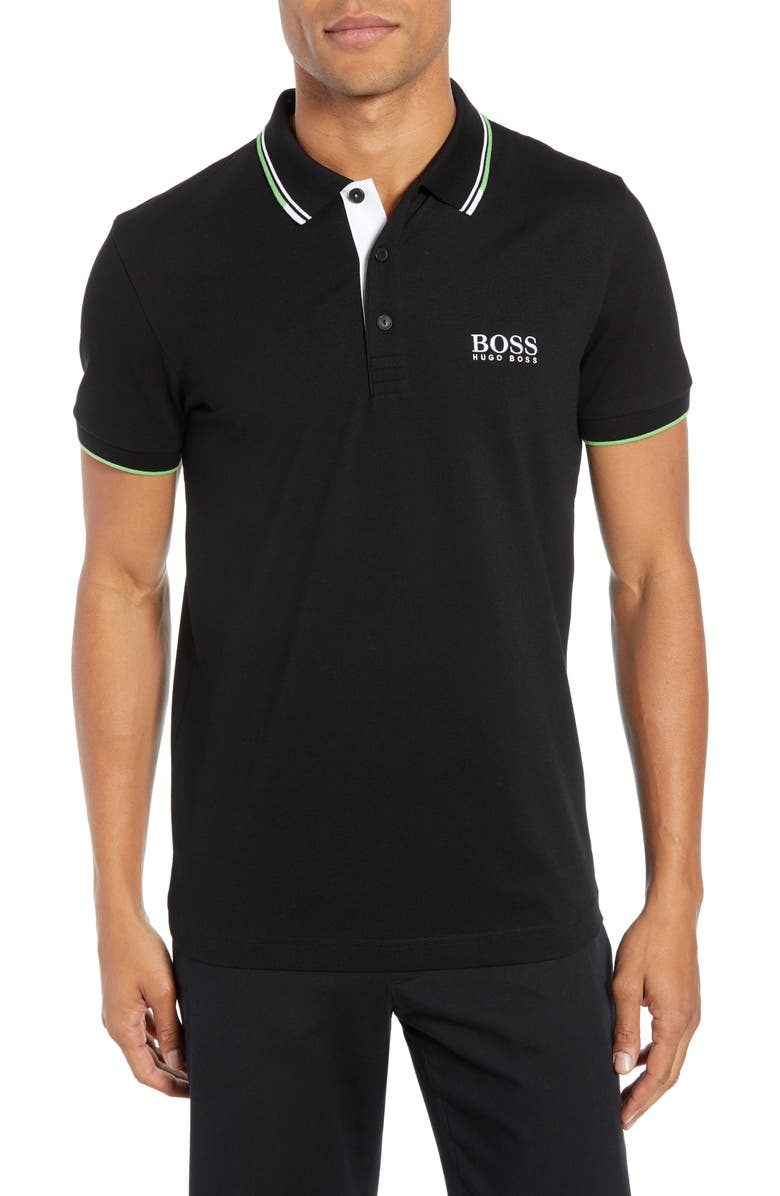 BOSS Paddy Regular Fit Polo, Main, color, 001