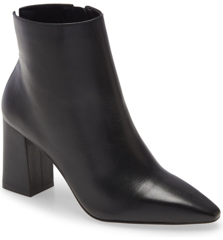 VINCE CAMUTO Cammen Pointed Toe Bootie, Main, color, BLACK NAPPA LEATHER