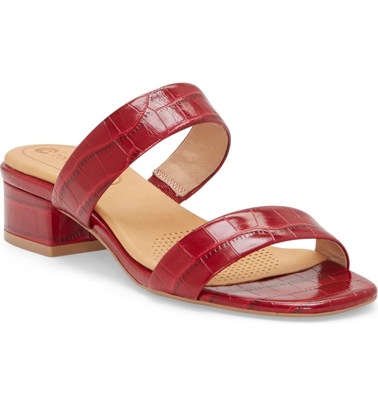 CC CORSO COMO<SUP>®</SUP> Faeya Slide Sandal, Main, color, RED EMBOSSED LEATHER